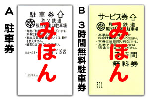 熊谷駅南口駐車場の駐車券と3時間無料駐車券