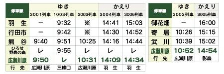直通&臨時停車時刻表